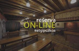 Reservar mesa para cenar en la sidrería Aburuza, menú tradicional de sidrería y otros menús de la cocina vasca